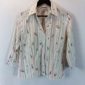 Chico's Collared Button Down Half Sleeve Shirt